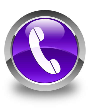 phone button: Phone icon glossy purple round button