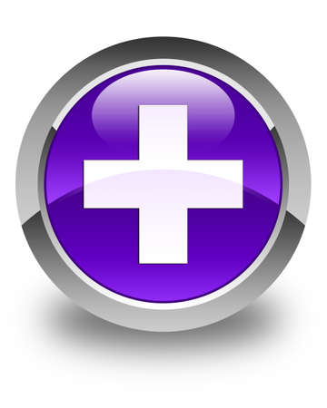 joining services: Plus icon glossy purple round button
