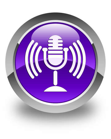 voices: Mic icon glossy purple round button