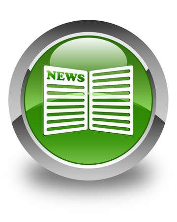 newspaper icon: Newspaper icon glossy soft green round button