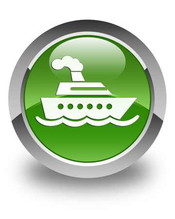 cruise ship icon: Cruise ship icon glossy soft green round button Stock Photo