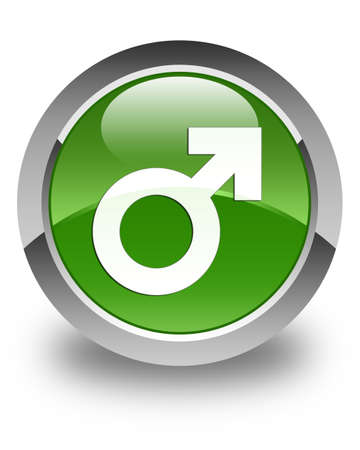 homosexual sex: Male sign icon glossy soft green round button