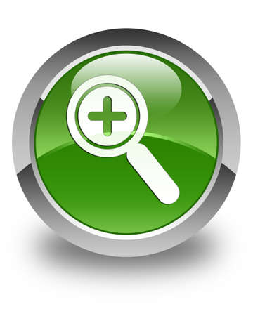 focus on shadow: Zoom in icon glossy soft green round button