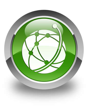 global network: Global network icon glossy soft green round button