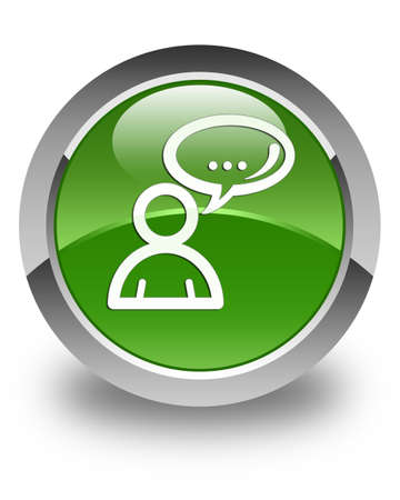 family discussion: Social network icon glossy soft green round button