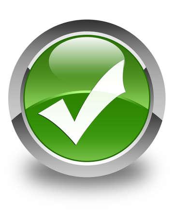 Validación icono de botón redondo verde brillante suave