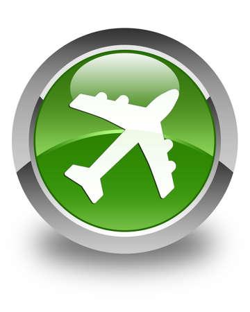 jet plane: Plane icon glossy soft green round button Stock Photo