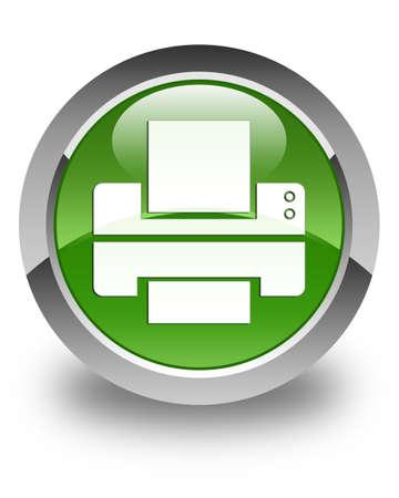 Printer icon glossy soft green round button