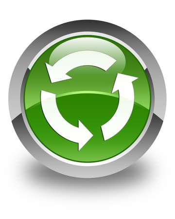 refresh icon: Refresh icon glossy soft green round button Stock Photo