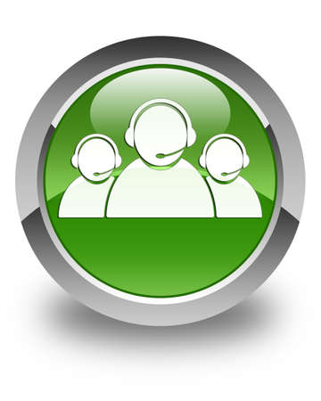 tech support: Customer care team icon glossy soft green round button Stock Photo