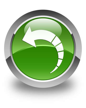 green button: Back arrow icon glossy soft green round button Stock Photo