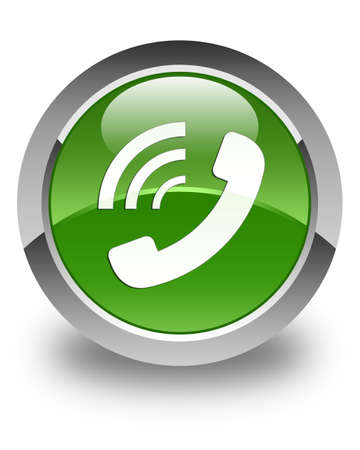 ringing: Phone ringing icon glossy soft green round button