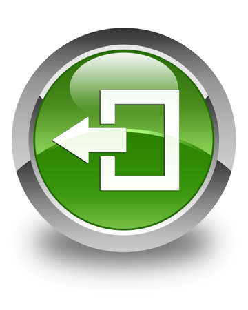 log off: Logout icon glossy soft green round button Stock Photo