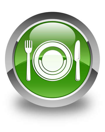 food plate: Food plate icon glossy soft green round button Stock Photo