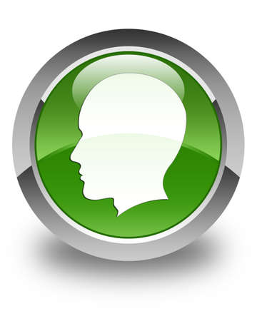 male face: Head (male face) icon glossy soft green round button