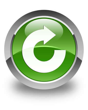 reply: Reply arrow icon glossy soft green round button Stock Photo