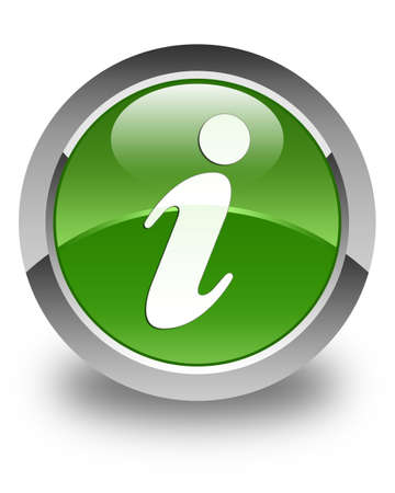 inform information: Info icon glossy soft green round button