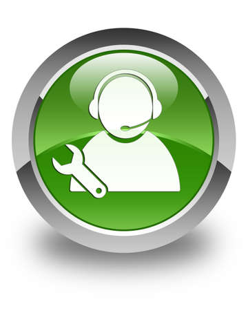 control tools: Tech support icon glossy soft green round button