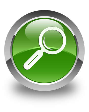 focus on shadow: Magnifying glass icon glossy soft green round button Stock Photo