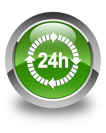 twenty four hour: 24 hours delivery icon glossy soft green round button