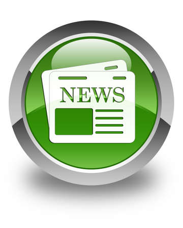 news current events: Newspaper icon glossy soft green round button