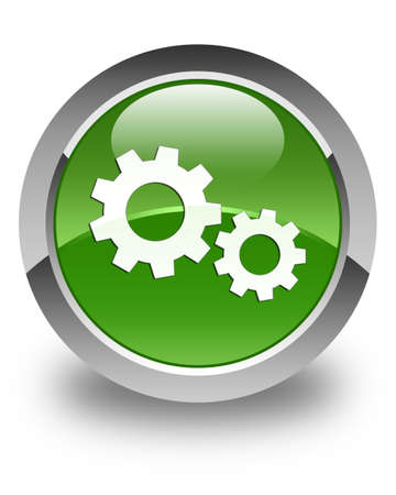 setting: Process icon glossy soft green round button Stock Photo