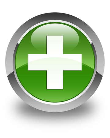 green plus: Plus icon glossy soft green round button