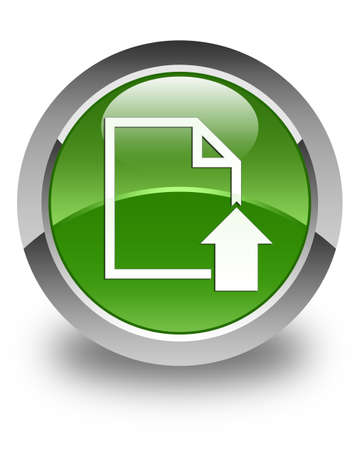 upload: Upload document icon glossy soft green round button