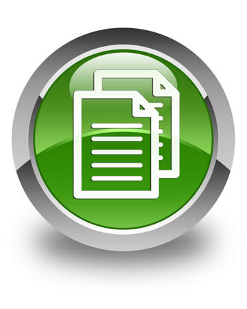 term and conditions: Documents icon glossy soft green round button