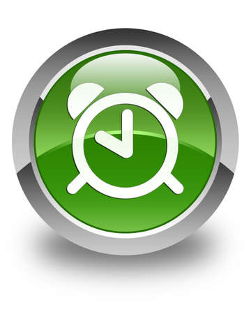green button: Alarm clock icon glossy soft green round button