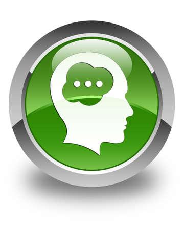 button glossy: Brain head icon glossy soft green round button