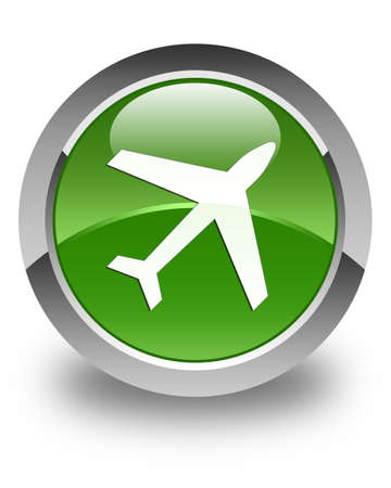 airway: Plane icon glossy soft green round button Stock Photo