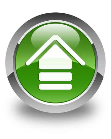 upload: Upload icon glossy soft green round button