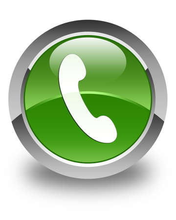 phone button: Phone icon glossy soft green round button