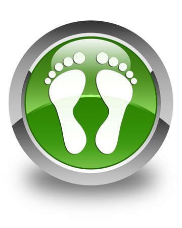 green footprint: Footprint icon glossy soft green round button