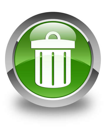 waste 3d: Recycle bin icon glossy soft green round button