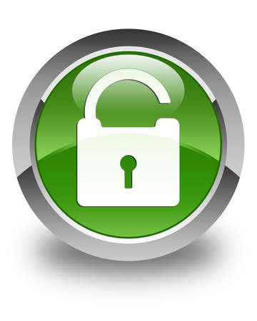 safeguard: Unlock icon glossy soft green round button