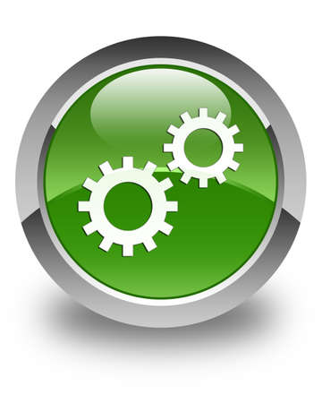 preference: Process icon glossy soft green round button Stock Photo