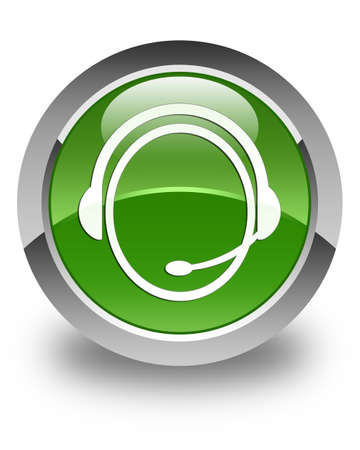 green button: Customer care service icon glossy soft green round button
