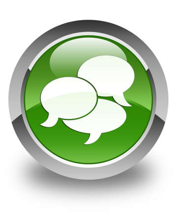comments: Comments icon glossy soft green round button