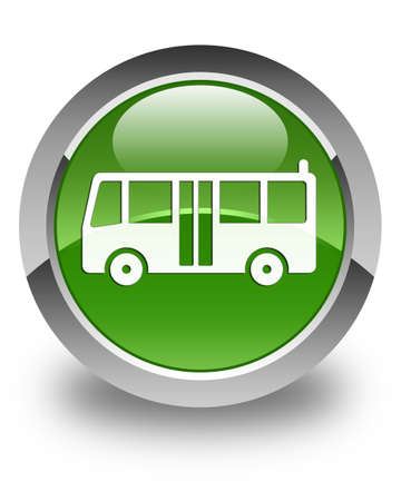green button: Bus icon glossy soft green round button