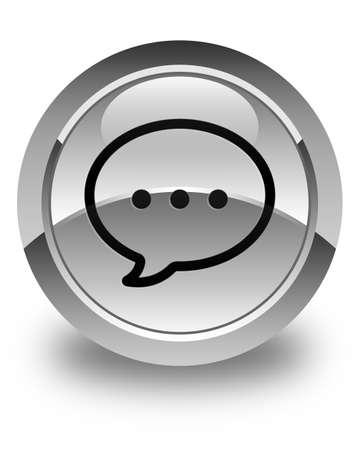 instant message: Talk bubble icon glossy white round button Stock Photo