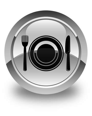 food plate: Food plate icon glossy white round button Stock Photo