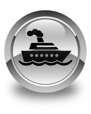 cruise ship icon: Cruise ship icon glossy white round button