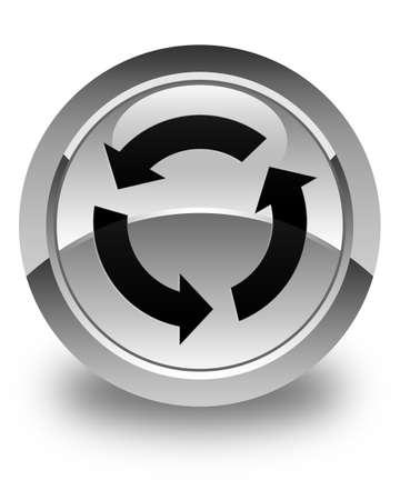 refresh icon: Refresh icon glossy white round button Stock Photo
