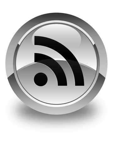 rss icon: RSS icon glossy white round button Stock Photo