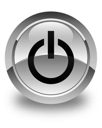 shut off: Power icon glossy white round button Stock Photo