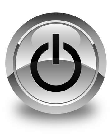 shut up: Power icon glossy white round button Stock Photo
