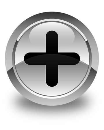 Plus icon glossy white round button Stock Photo