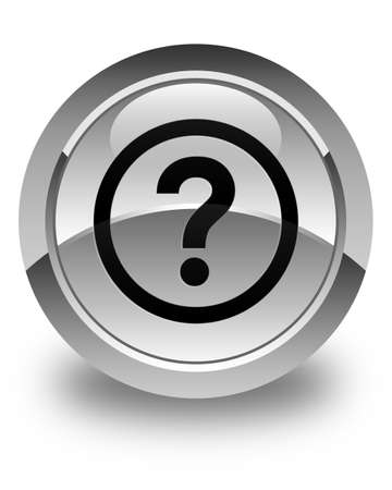 enquiry: Question icon glossy white round button Stock Photo